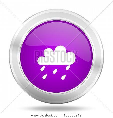 rain round glossy pink silver metallic icon, modern design web element