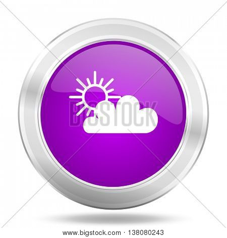 cloud round glossy pink silver metallic icon, modern design web element