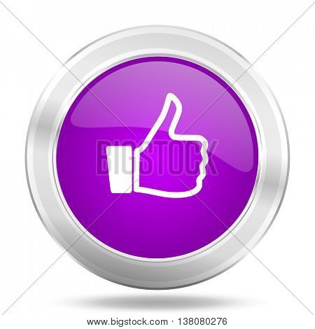 like round glossy pink silver metallic icon, modern design web element