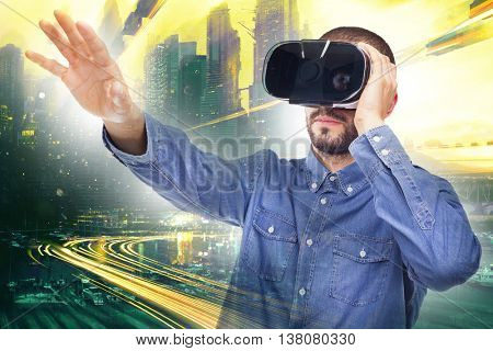 Man experiencing virtual reality through a VR headset
