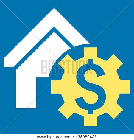 House Rent Options vector icon. Style is bicolor flat symbol, yellow and white colors, blue background.
