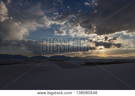 Sunset over White Sands National Monument, New Mexico.