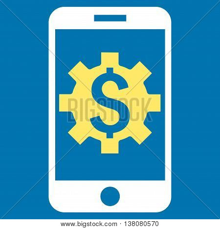 Mobile Bank Setup vector icon. Style is bicolor flat symbol, yellow and white colors, blue background.