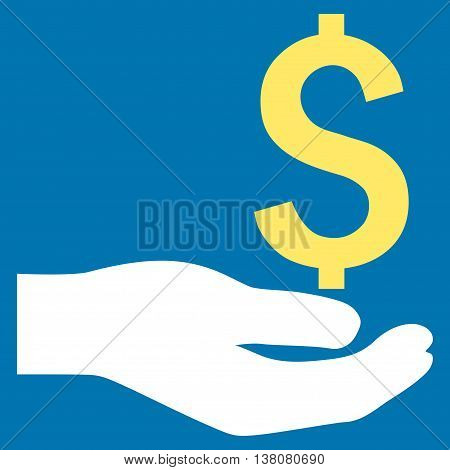Payment vector icon. Style is bicolor flat symbol, yellow and white colors, blue background.