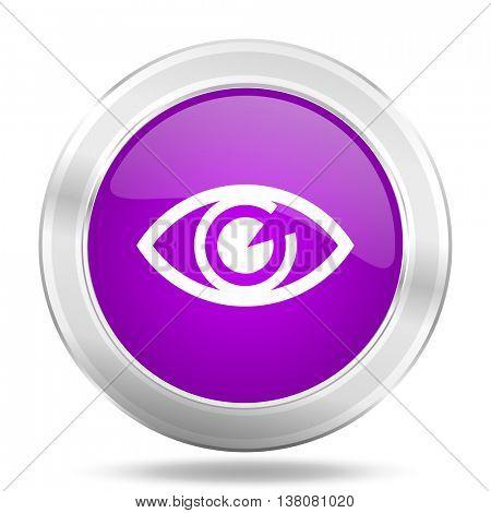 eye round glossy pink silver metallic icon, modern design web element