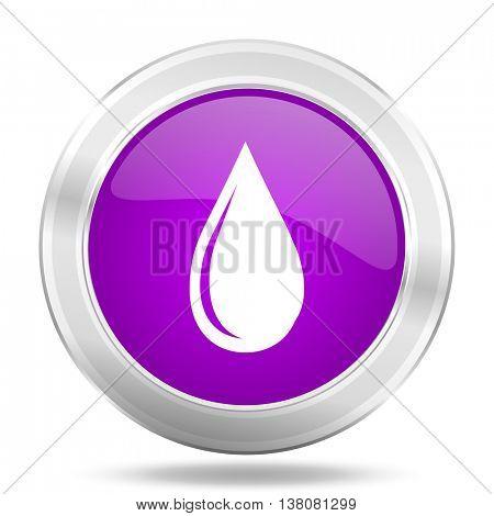 water drop round glossy pink silver metallic icon, modern design web element