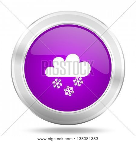snowing round glossy pink silver metallic icon, modern design web element