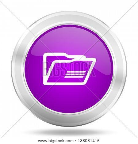 folder round glossy pink silver metallic icon, modern design web element