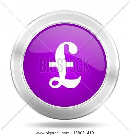 pound round glossy pink silver metallic icon, modern design web element