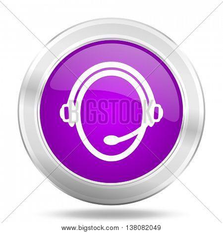 customer service round glossy pink silver metallic icon, modern design web element