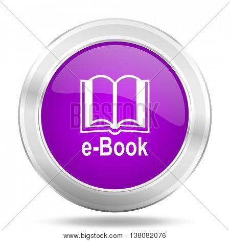 book round glossy pink silver metallic icon, modern design web element