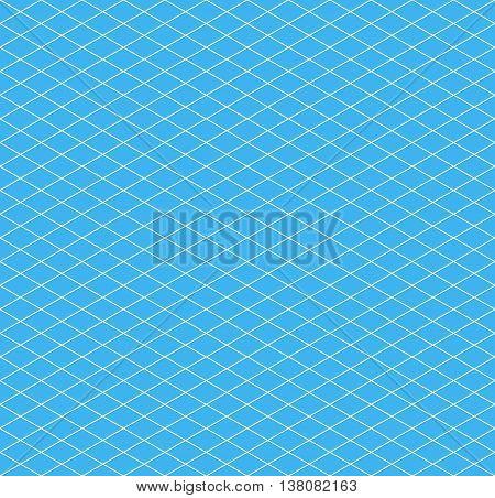 White isometric grid on cyan background, seamless pattern