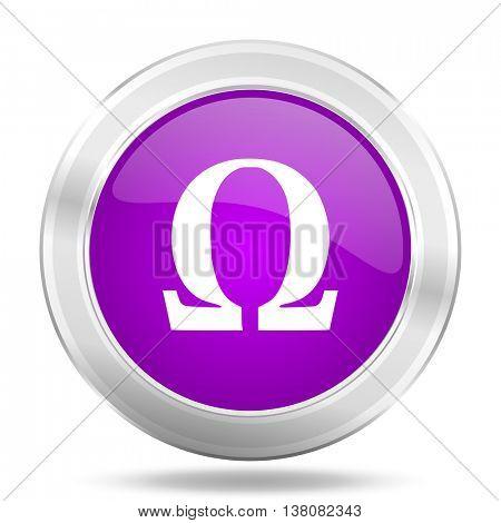 omega round glossy pink silver metallic icon, modern design web element