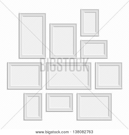 Picture frame vector. Photo art gallery on vintage wall. Set of a vector framework in realistic style. Blank picture frame template set isolated on vintage wall. Traditional realistic frames set.