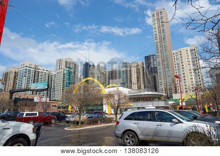 CHICAGO, IL -  MARCH 31, 2016: the Rock N Roll McDonald's in the daytime. The Original Rock N Roll McDonald's is a flagship McDonald's restaurant located in Chicago, Illinois