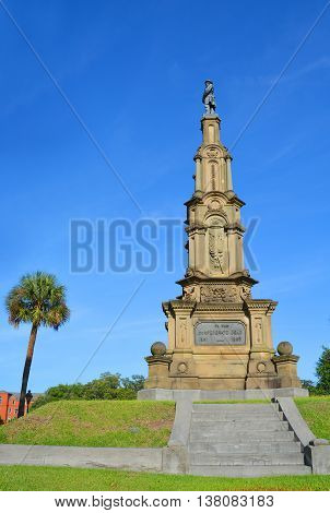 SAVANNAH GEORGIA USA 06 29 2016: Confederate monuments stands in Savannah Forsyth Park, where her soldiers drilled before marching off to war. This impressive monument honored local Civil War veterans