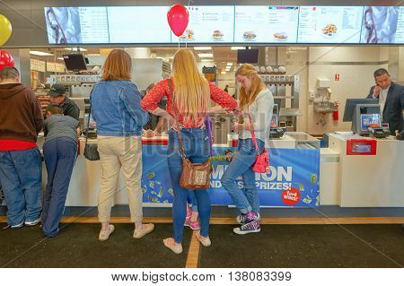 CHICAGO, IL -  MARCH 31, 2016: inside of the Rock N Roll McDonald's. The Original Rock N Roll McDonald's is a flagship McDonald's restaurant located in Chicago, Illinois