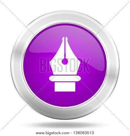 pen round glossy pink silver metallic icon, modern design web element