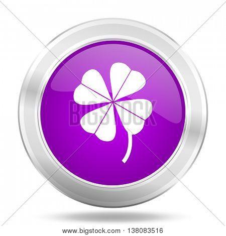 four-leaf clover round glossy pink silver metallic icon, modern design web element