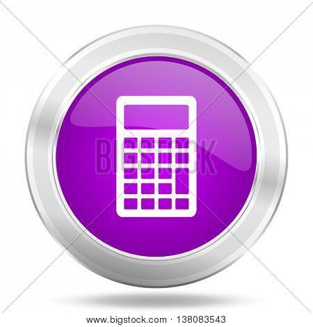 calculator round glossy pink silver metallic icon, modern design web element