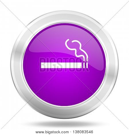 cigarette round glossy pink silver metallic icon, modern design web element