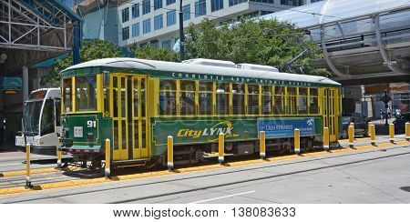 CHARLOTTE NORTH CAROLINA -6 22 2916: Historic street car of Charlotte in the late 19th and early 20th centuries were intimately bound up with the installation and development of its streetcar network