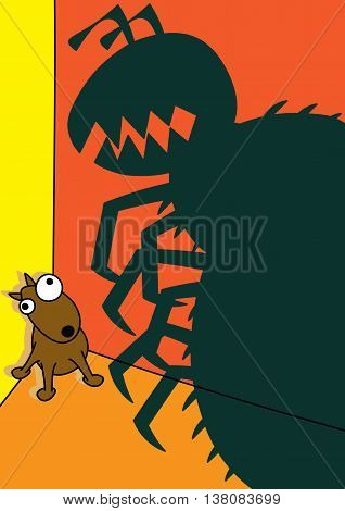 pet dog monster flea infestation vector illustration