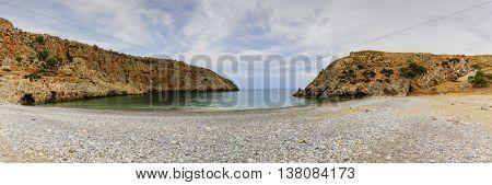 Rocky bay and the blue sea, Crete, Greece