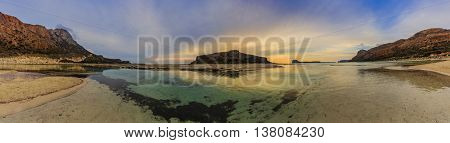 Amazing sunset of Balos Lagoon and Gramvousa island on Crete, Greece