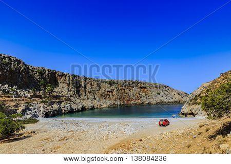 Off- road, rocky beach in Crete, Greece