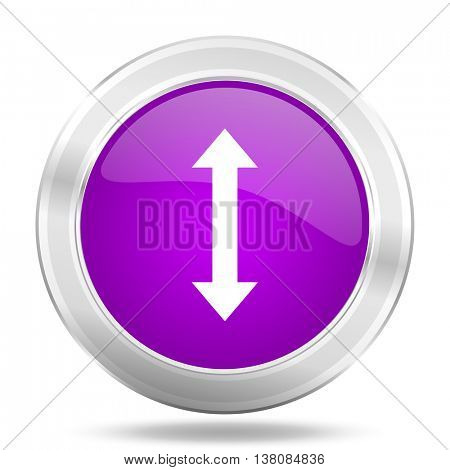 arrow round glossy pink silver metallic icon, modern design web element