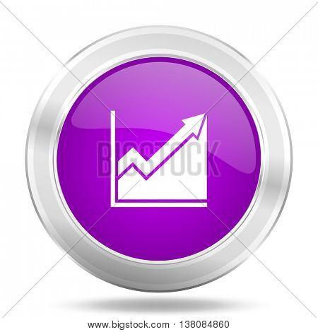 histogram round glossy pink silver metallic icon, modern design web element