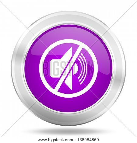 mute round glossy pink silver metallic icon, modern design web element