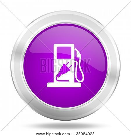fuel round glossy pink silver metallic icon, modern design web element