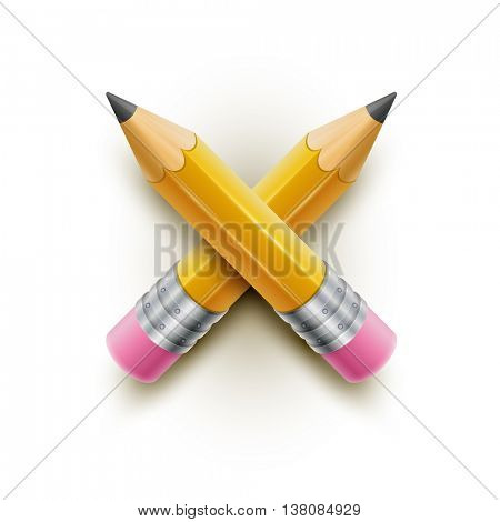Yellow pencils on white background. Vector illustration.