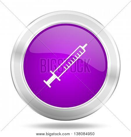 medicine round glossy pink silver metallic icon, modern design web element