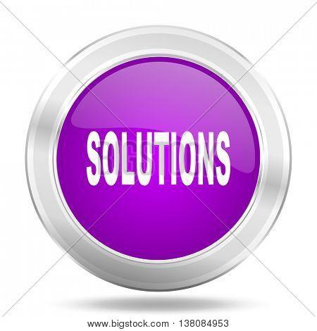 solutions round glossy pink silver metallic icon, modern design web element