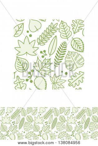 Vector seamless pattern design with various green line leaves. Global colors.