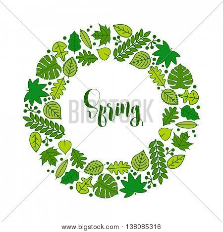 Vector spring frame with various leaf icons.