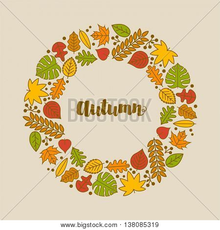 Vector Autumn frame with various leaf icons.