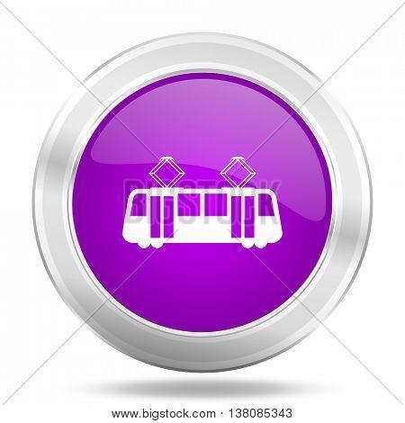 tram round glossy pink silver metallic icon, modern design web element