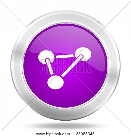 chemistry round glossy pink silver metallic icon, modern design web element