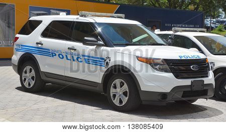 CHARLOTTE NORTH CAROLINA JUNE 20 2016: Car of Charlotte-Mecklenburg Police Department of the City of Charlotte it is the largest police department between Washington D.C. and Atlanta, Georgia.