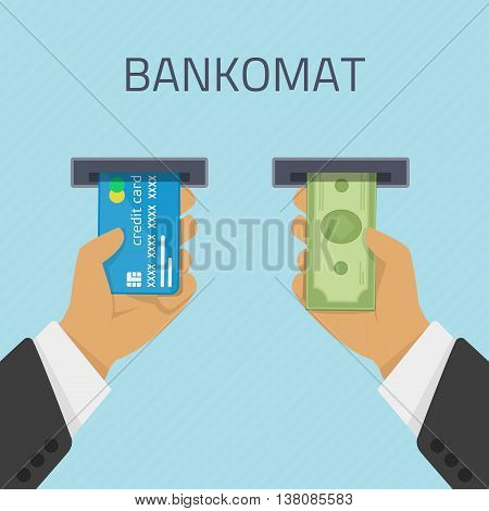 Hand inserts a credit card into ATM and takes the money from the ATM. Vector illustration cashing in of money of the ATM. Money withdrawal in Bankomat. ATM terminal usage concept in flat style.