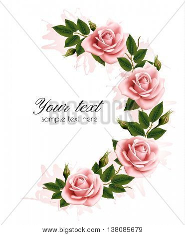 Holiday background with beauty flowers. Vector.