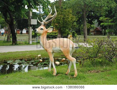 Beautiful statue of deer in the garden