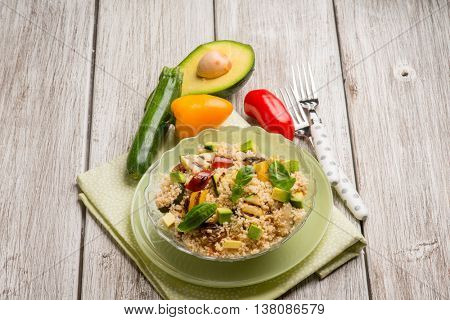 couscous salad with grilled eggplant zucchinis and avocado