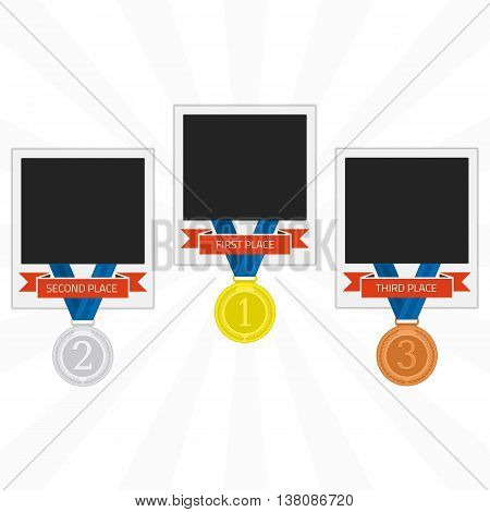 Vector photo frame template with medal competition winner. Photo frame to win the competition. Gold, silver and bronze medal on isolated background photo frames in flat style. Photo frame of winners.