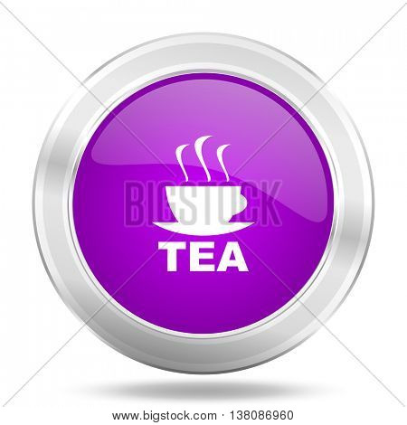 tea round glossy pink silver metallic icon, modern design web element