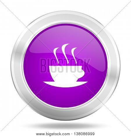 espresso round glossy pink silver metallic icon, modern design web element